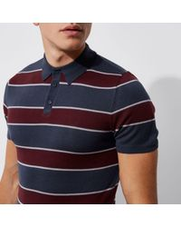 River Island Blue Navy And Red Stripe Slim Fit Polo Shirt for men