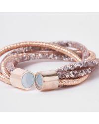 River Island - Orange Mesh Diamante Cluster Bracelet - Lyst