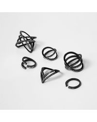 River Island - Black Diamante Encrusted Ring Pack - Lyst