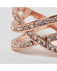 River Island - Pink Rose Gold Tone Diamante Encrusted Cross Ring - Lyst
