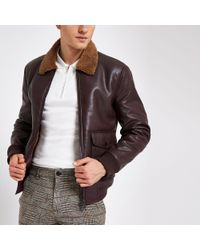River Island - Brown Burgundy Faux Leather Fleece Collar Jacket for Men - Lyst