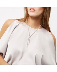 River Island | Metallic Silver Tone Diamante Sparkle Necklace | Lyst