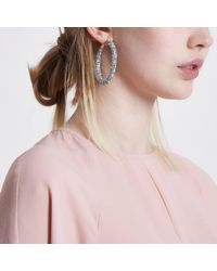 River Island - Metallic Silver Tone Diamante Encrusted Hoop Earrings - Lyst