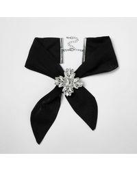 River Island - Black Jewel Embellished Tie Choker - Lyst