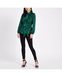 River Island - Green Satin Print Tie Waist Top - Lyst
