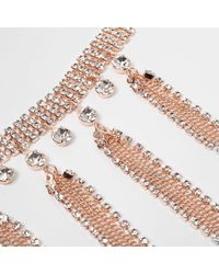 River Island - Pink Rose Gold Tone Diamante Tassel Choker Rose Gold Tone Diamante Tassel Choker - Lyst