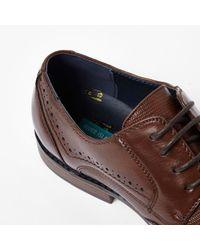 River Island - Dark Brown Croc Embossed Leather Brogues for Men - Lyst