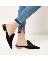 River Island - Black Pony Hair Slip On Mules - Lyst