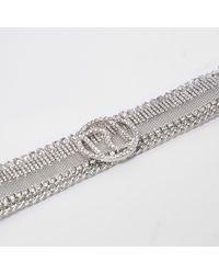 River Island - Metallic Silver Tone Diamante Ri Branded Choker - Lyst