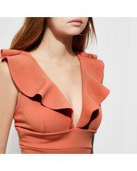 River Island - Dark Pink Frill Shoulder Plunge Bodycon Dress - Lyst