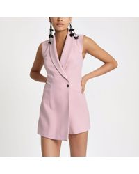 793614352058 River Island Light Pink Tux Sleeveless Wrap Playsuit in Pink - Lyst