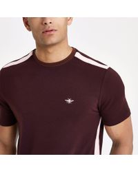 River Island - Dark Red Tape Muscle Fit T-shirt for Men - Lyst
