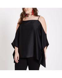 a6e77a3244b8c Lyst - River Island Plus Black Cold Shoulder Kimono Cami Top in Black