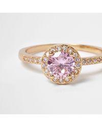 River Island   Metallic Gold Tone Pink Jewel Ring   Lyst