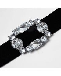 River Island - Black Velvet Diamante Brooch Choker - Lyst