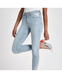 River Island Blue Amelie Ripped Super Skinny Jeans