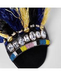 River Island - Dark Blue Fringe Embellished Sandals - Lyst