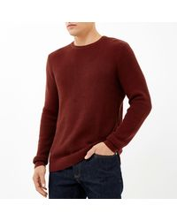 River Island - Rust Brown Waffle Long Sleeve T-shirt for Men - Lyst