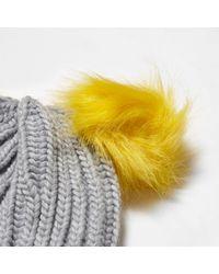 River Island - Gray Light Grey Knit Pom Pom Ear Beanie Hat - Lyst