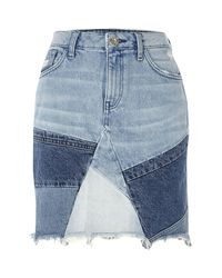 River Island - Blue Patchwork High Waisted Mini Denim Skirt - Lyst