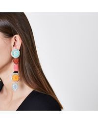 River Island - Pink Multi Colour Mixed Jewel Dangle Earrings Pink Multi Colour Mixed Jewel Dangle Earrings - Lyst