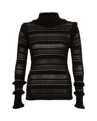 River Island - Black Pointelle Knit Turtle Neck Jumper - Lyst