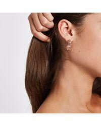 River Island - Metallic Rose Mini Jewel Drop Stud Earrings - Lyst
