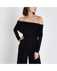 River Island - Black Ruched Folded Bardot Neck Sweater - Lyst