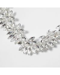 River Island | Metallic Silver Tone Floral Jewel Necklace | Lyst
