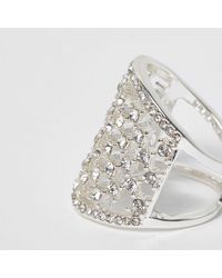 River Island - White And Silver Tone Diamante Cage Ring - Lyst