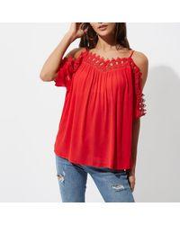 River Island Red Crochet Trim Cold Shoulder Top