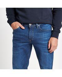 River Island - Mid Blue Slim Fit Dylan Jeans for Men - Lyst