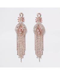 River Island - Pink Rose Gold Tone Jewel Ball Chain Drop Earrings - Lyst