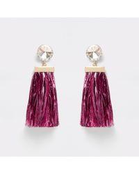 River Island - Pink Diamante Tinsel Drop Stud Earrings - Lyst