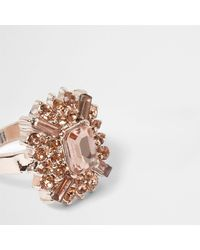 River Island   Multicolor Rose Gold Tone Orange Jewel Ring   Lyst