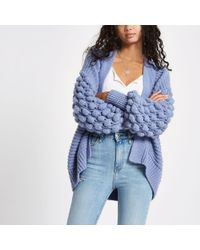 River Island - Cardigan With Bobble Sleeves In Blue - Lyst