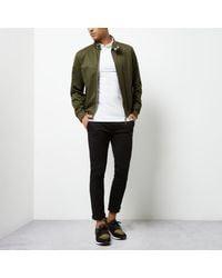 River Island - Green Casual Funnel Neck Harrington Jacket for Men - Lyst