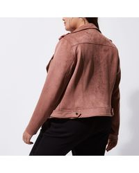 River Island - Plus Dark Pink Faux Suede Biker Jacket - Lyst