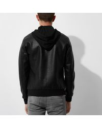 River Island - Black Only & Sons Faux Leather Hooded Jacket for Men - Lyst
