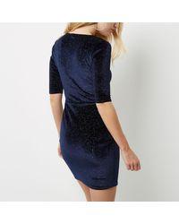 River Island - Blue Navy Sparkly Velvet Knot Dress - Lyst
