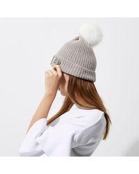 River Island - Gray Grey Pom Pom Top Embellished Beanie Hat - Lyst