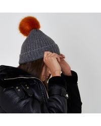River Island - Gray Light Grey Pom Pom Beanie Hat Light Grey Pom Pom Beanie Hat - Lyst
