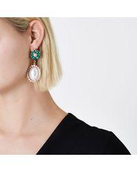 River Island - Metallic Gold Tone Emerald Faux Pearl Dangle Earrings - Lyst