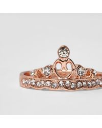 River Island - Pink Rose Gold Tone Diamante Crown Ring - Lyst