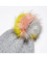 River Island - Gray Light Grey Multicoloured Pom Pom Beanie Hat - Lyst