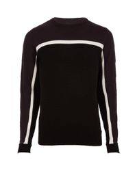 River Island - Black Burgundy Slim Fit Colour Block Stripe Jumper for Men - Lyst
