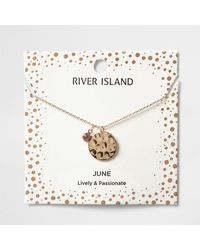 River Island - Light Purple June Birthstone Necklace - Lyst
