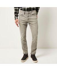 River Island - Gray Grey Dylan Slim Raw Hem Jeans for Men - Lyst