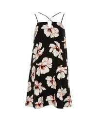 River Island | Black Floral Cross Strap Slip Dress | Lyst