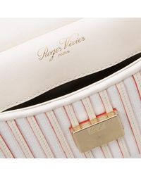 Roger Vivier Multicolor Viv' Shirting Straw Cabas Mini